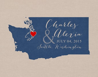 Unique Wedding Gifts Vancouver : Wedding, Custom Gift, Any Map - 8x10 Print, Tacoma, Spokane, Vancouver ...