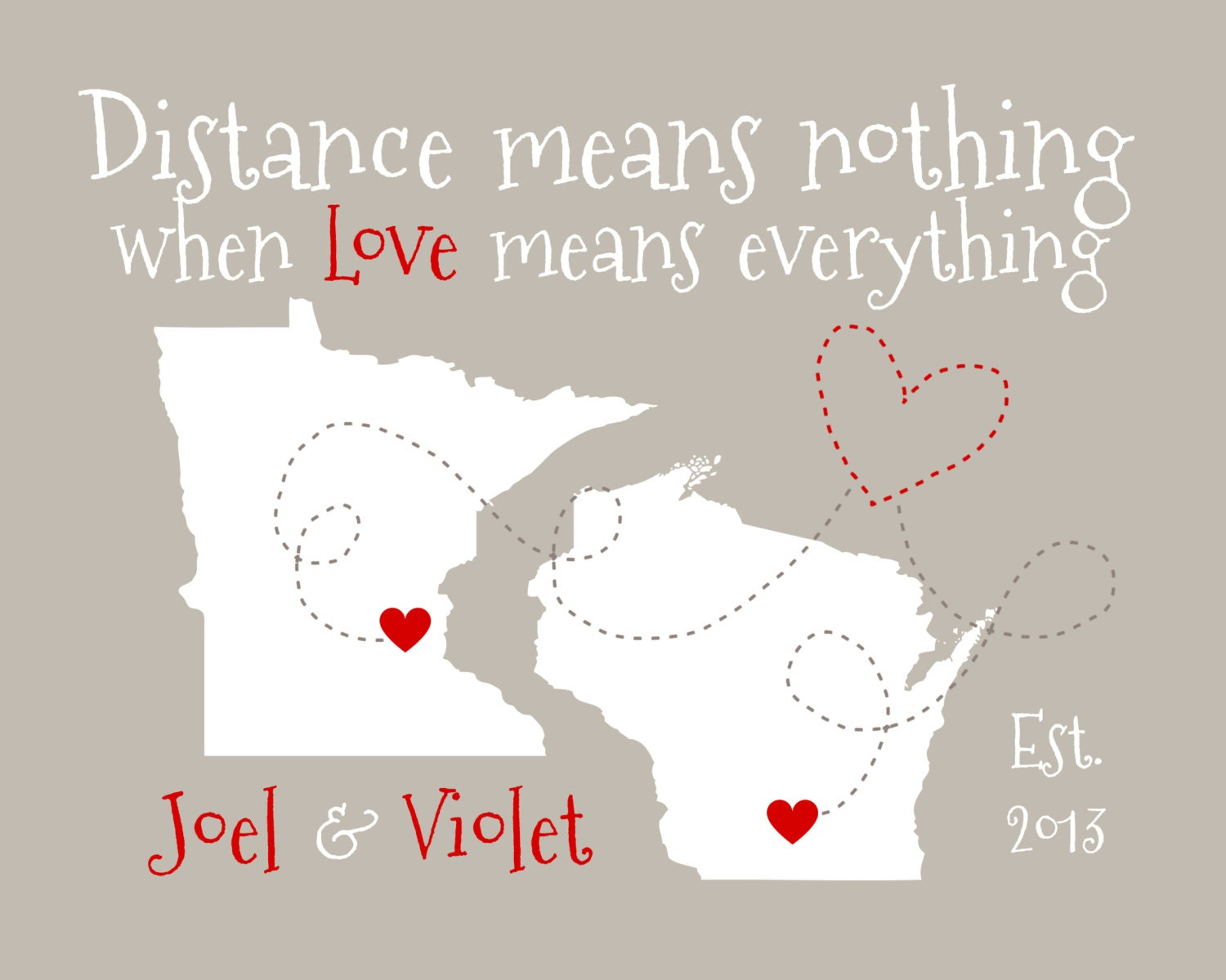 Long distance relationship gift for boyfriend map art