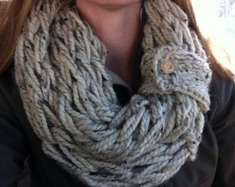 Arm-knit Infinity Scarf in Oatmeal