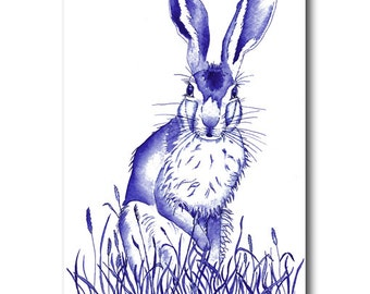 Postcard of hare in blue in watercolour and ink
