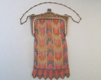 Vintage Whiting & Davis Enamel Mesh Purse with original hang tag