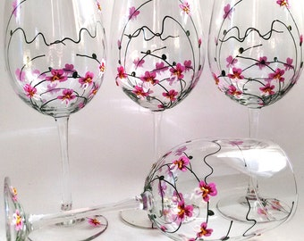 """WINE GLASSES -- Hand Painted Wine Glasses """"Orchids"""" Set of 4"""