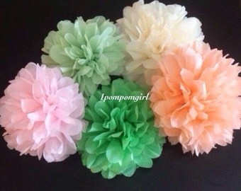 TISSUE PAPER POMS / 30 tissue paper pom poms / wedding decorations, birthday decor, baby shower, bridal shower, party decor, pompoms