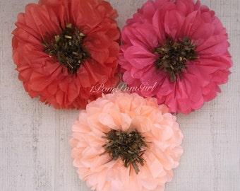 TISSUE PAPER FLOWERS / 6 tissue paper pom pom flower / wedding decorations, paper flowers, birthday decor, nursery, photo prop, backdrop