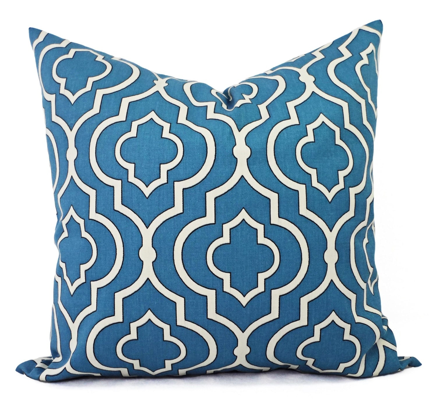Two Throw Pillow Covers Blue Quatrefoil 18 x by CastawayCoveDecor