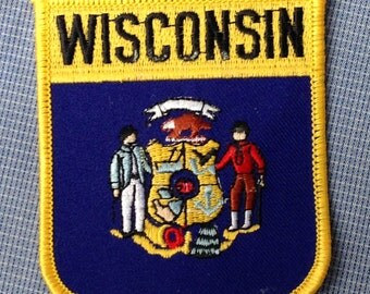 Wisconsin Flag Vintage Travel Patch