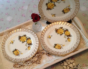 Vintage bone china yellow rose small dinner plate. Salad plate Made in England.