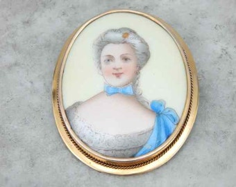 Painted Edwardian Lady, Victorian Era Brooch AJXC0W-N