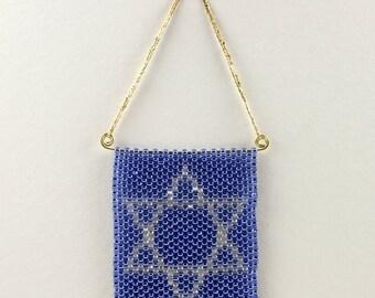 Peyote Stitch Star of David Ornaments