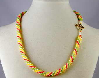 Russian Spiral Beaded Necklace in Orange, Lime Green, Yellow and White