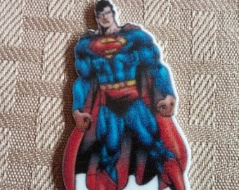 Superman resin- bow applique- crafting plastic center-