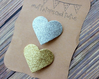 Glitter heart hair clips- Gold and silver -