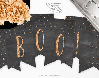 Boo Halloween Banner - DIY Printable - Instant Download - Chalkboard & Glitter Look - Black and Orange