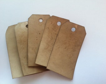 "SALE ITEM! 100 Medium Coffee Stained Tags sized 3 1/4"" x 1 5/8""."