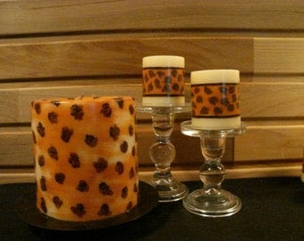 Fall Collection ~~ Decorative 3 Wick Painted Candle with Unique Terra Cotta Animal Print ~~ Vanilla Scented Pillar