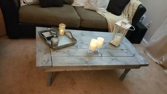 Mini Rustic Farmhouse Barndoor Coffee Table Reclaimed Wood