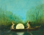 "Fine Art Print of an Original Animal Painting: ""The Dreaming Moon"""