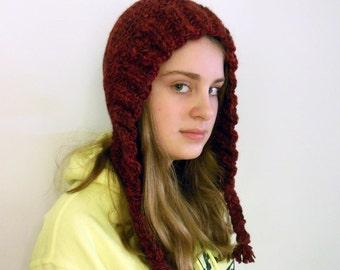 Knitted Winter Hat, Earflap Hat, Tassel Hat, Warm Hat, Burgundy Hat,