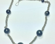 Chain Maille Byzantine with Rainbow - Obsidian