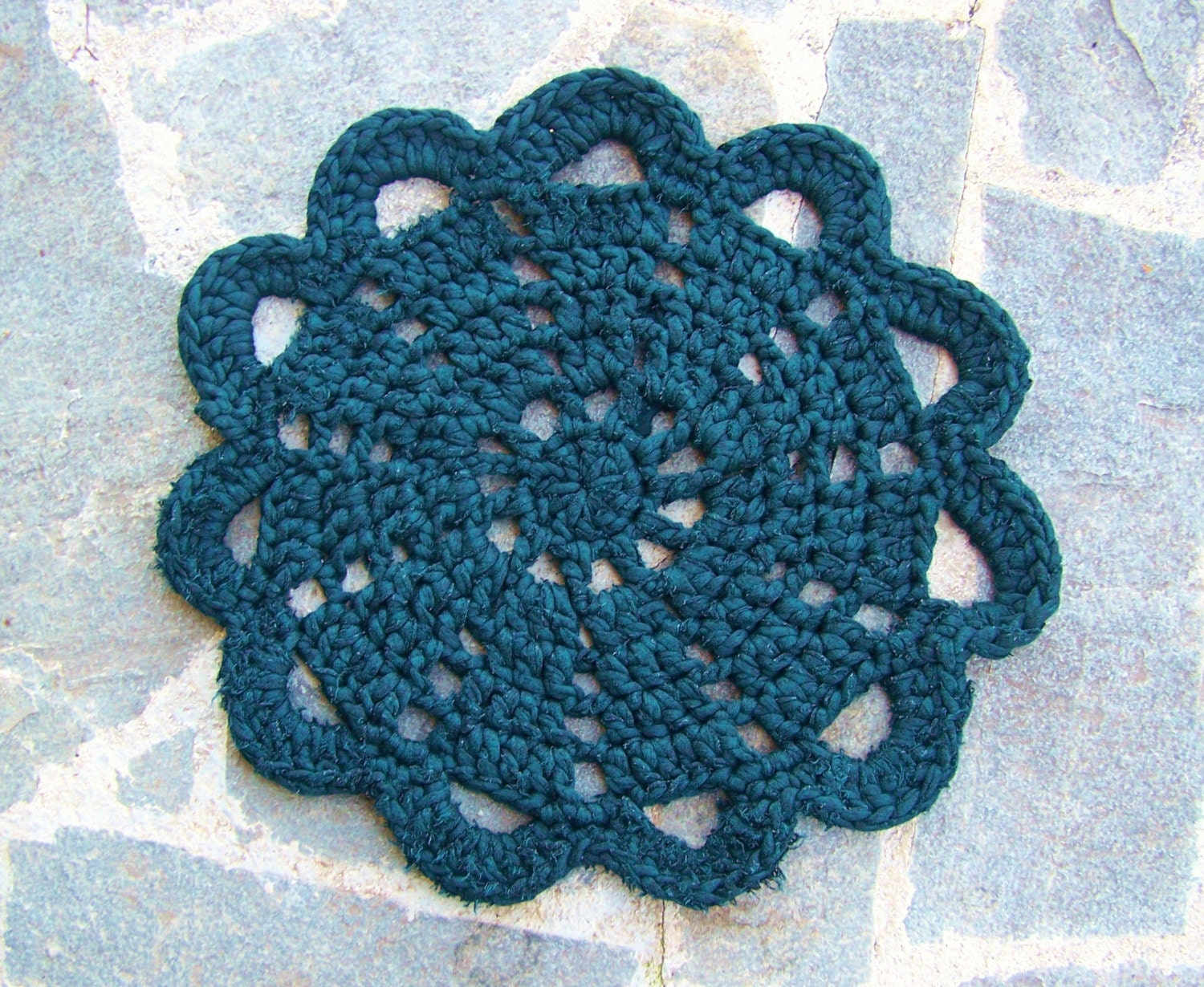 Crocheting Round Rugs : Crochet Round Doily Rug Dark green Tshirt Yarn Rug by 2knit2purl