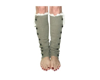 Light Grey Slouchy Button Down Leg Warmers w/Ivory Knit Lace