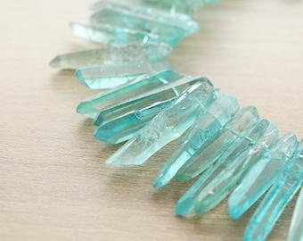 10 pcs of Good Quality Baby Blue Titanium Crystal Quartz Points Beads - Top Drilled