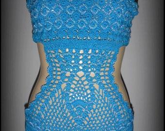 Blue beaded crocheted monokini or bodysuit