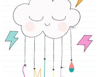 A4 Cloud and rainbow print. Smile print, Kids room, girls room, rainbow print, Personalised print, girls room, nursery print, Baby shower