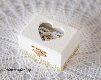 Ring Box, Ring Pillow, White Ring Bearer, Wooden Box