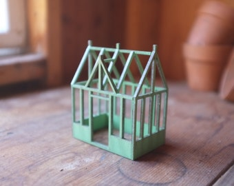 Miniature conservatory structure - english garden rustic decor - verdigris finish - victorian architecture - dilapidated greenhouse