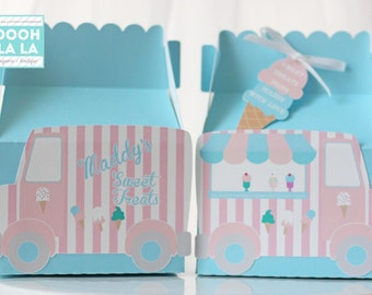 MADE TO ORDER Set of 6 Ice Cream Truck Themed Gable Favor Boxes in light blue with Favor Tags available in large or small size