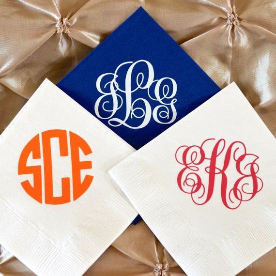 personalized monogram wedding napkins custom napkins monogrammed
