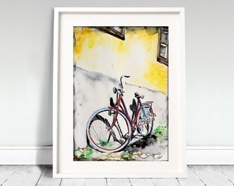 Wheel, wall, street, street art. Bicycle watercolor art print. Wall art, wall decor, digital print.