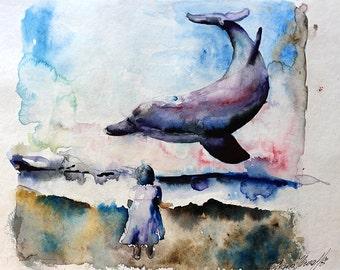 Woman. Sea. Dolphins print. Gulls.  Womanwatercolor art print. Wall art, wall decor, digital print.