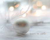 Set of 4 Small Greeting Cards (3x3) Peace on Earth, high-key, bokeh, mint, white, gold, cream
