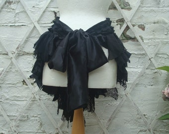 Upcycled Black Bustle Woman's Clothing Mori Girl Tattered Lace  Cotton Lace Layers Ruffles Gothic
