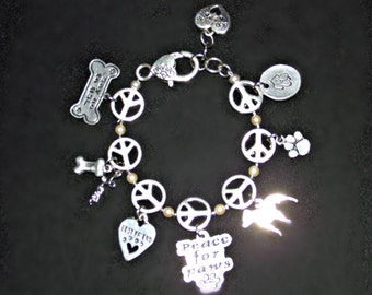 Love Peace and Pit Bulls Bracelet