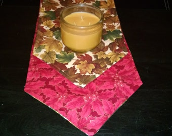 Table Runner  approx 10 x 72 Christmas Fall Reversible