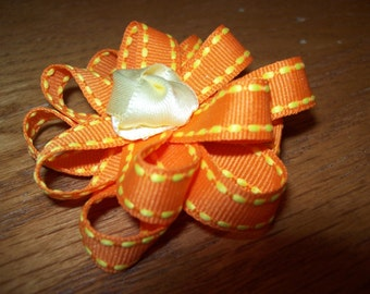 Stitched Grosgrain Loopy Flower Bow