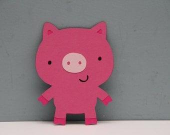 Pink Pig Die Cut-Set of 8