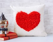 Valentine's Day, Fuzzy Red Heart Pillow cover, Decorative pillow, Home Decor, Farmhouse Decor. Red, Love Pillow, Heart Pillow, Valentine