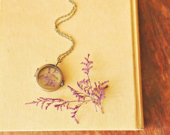 The Botanist ~ a whimsical woodland terrarium locket necklace featuring dried caspia