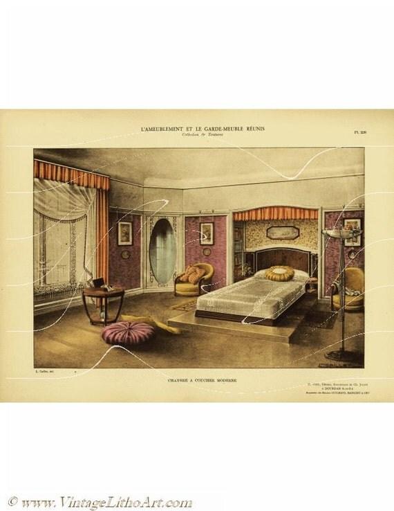 Items similar to original antique decorative art print 39 l for Garde meuble nice