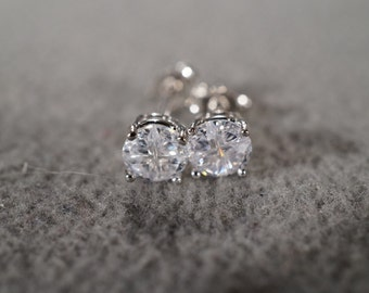 Vintage Sterling Silver 2  Round  Shape Cubic Zirconia Classic Prong Set Stud Style Pierced Earrings      #05