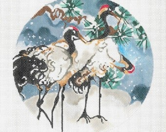 "Handpainted Needlepoint Canvas Joy Juarez Three SNOW CRANES Ornament 6"" 18M -Free US Shipping!!!"
