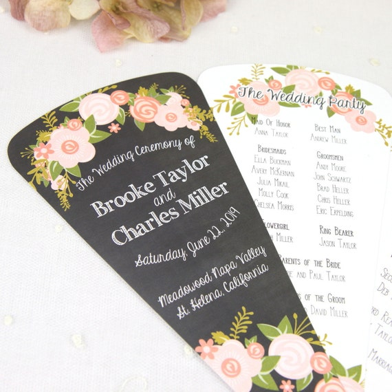 20 Petal Fan Wedding Programs Custom Flower And Chalkboard Program