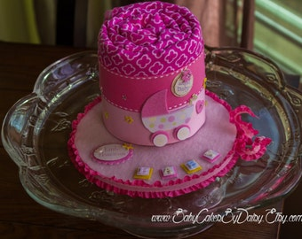 Baby Shower Gift - It's a Girl Centerpiece - Receiving Blanket Cake - Diaper Cake Alternative - Pink Baby Girl Baby Shower Centerpiece