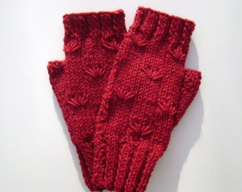 Fingerless Gloves/Handwarmers in Deep Red. hand-Knit. Ready to Ship