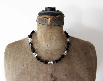 Vintage Black Glass Bead Necklace - Black Bead Necklace - Vintage Black Necklace - Black and Clear Glass Bead Necklace