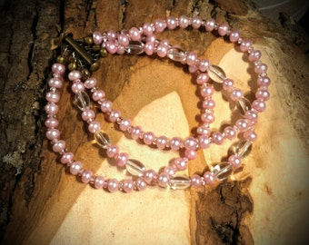 Three Strand Pink Freshwater Pearl Button 8 Inch Bracelet with Czech Glass and Quartz Crystals